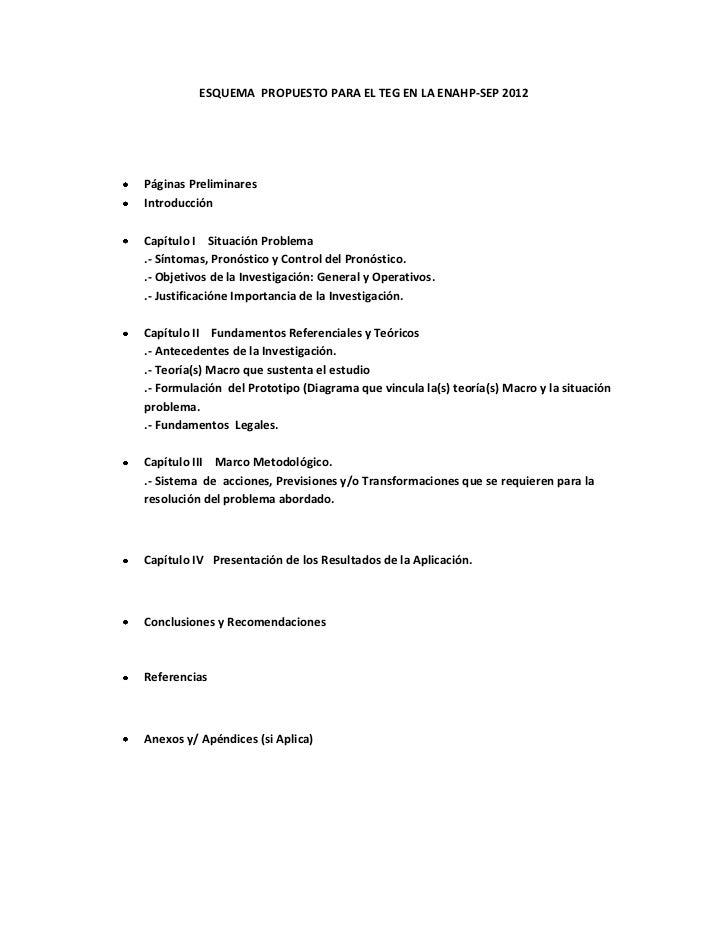 ESQUEMA PROPUESTO PARA EL TEG EN LA ENAHP-SEP 2012Páginas PreliminaresIntroducciónCapítulo I Situación Problema.- Síntomas...