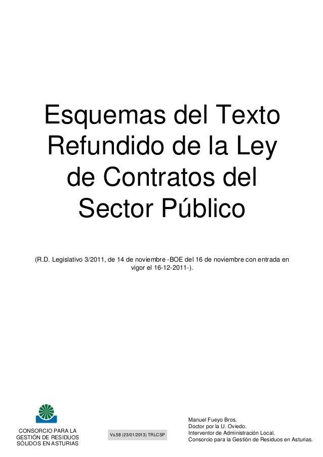 Esquemas del Texto        Refundido de la Ley         de Contratos del          Sector Público     (R.D. Legislativo 3/201...