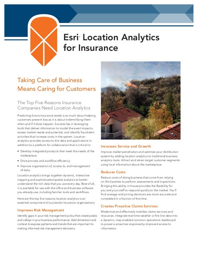 Esri Location Analytics for Insurance ®  Taking Care of Business Means Caring for Customers The Top Five Reasons Insurance...