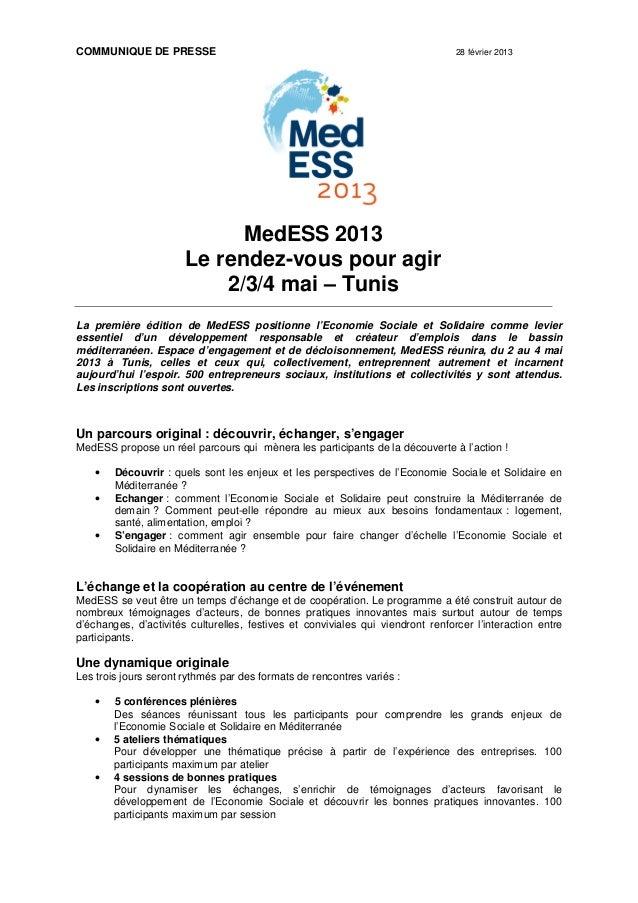 Programme de MedESS 2013