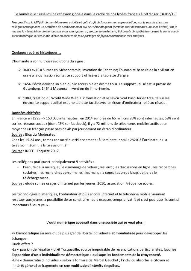 Le numérique : essai d'une réflexion globale dans le cadre de nos lycées français à l'étranger (04/02/15) Pourquoi ? car l...