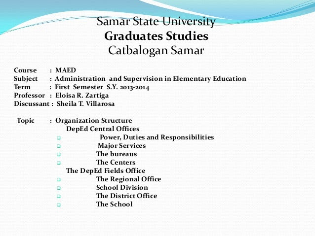 Samar State University Graduates Studies Catbalogan Samar Course : MAED Subject : Administration and Supervision in Elemen...