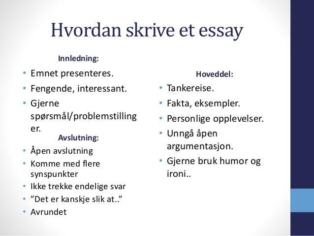 hvordan skrive en engelsk essay