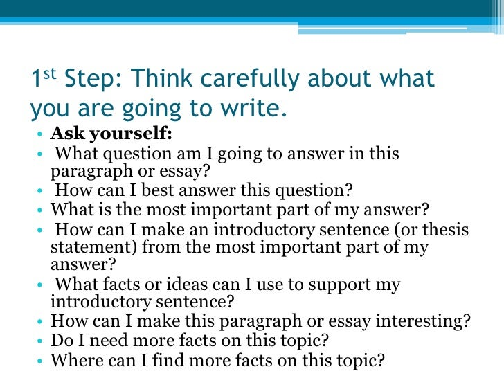 steps to write a essay