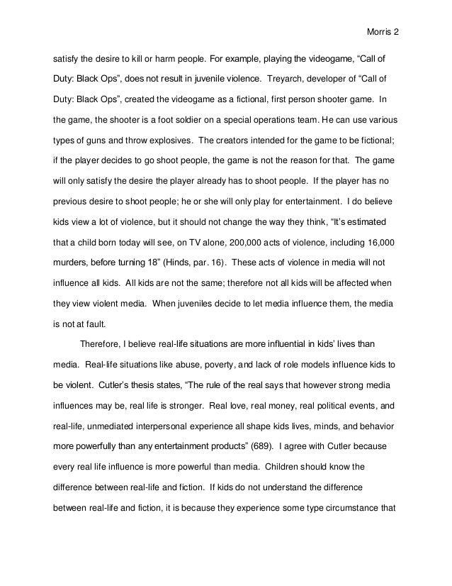 discursive essay on violent video games