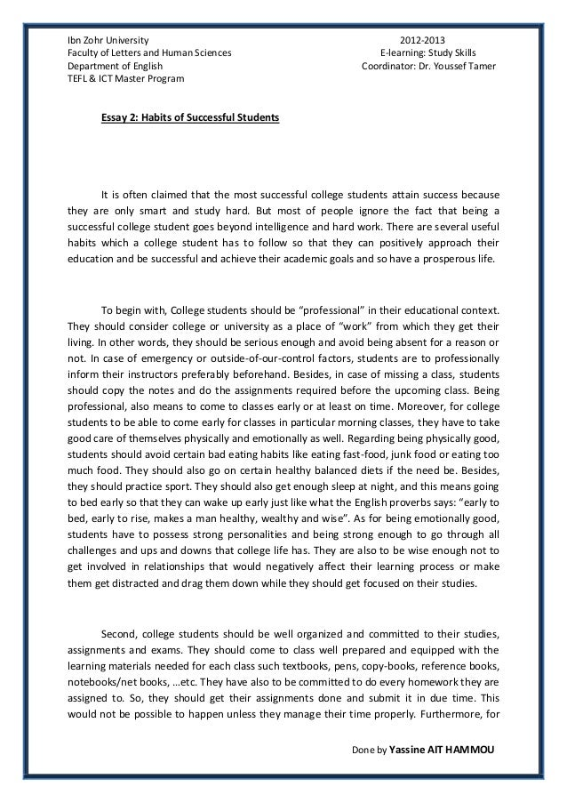 example of bad college essays co example of bad college essays essay 2 succesful college students habits by yassine ait example of bad college essays