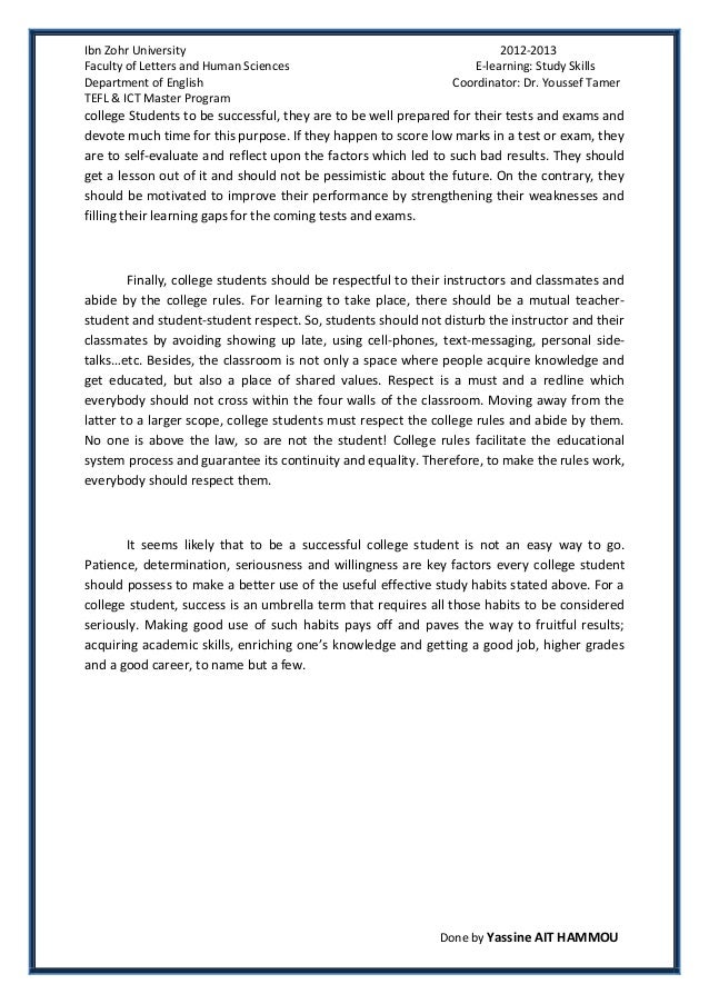 college success essay bowo my ip meessay succesful college students habits by yassine ait hammoufurthermore for - Good College Essays Examples
