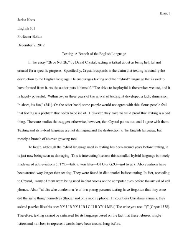Essay for english language