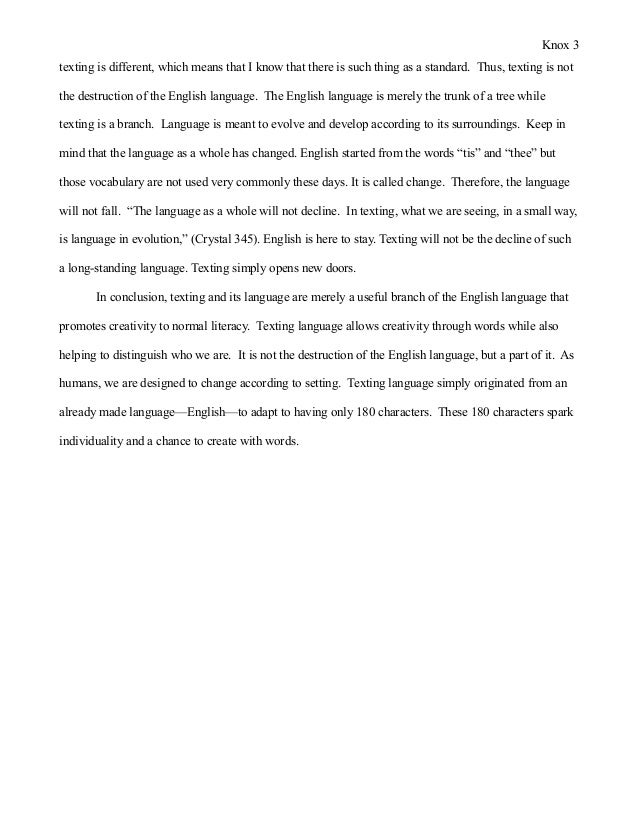 Essay on english language