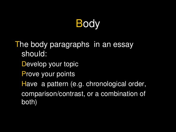 Body essay writing
