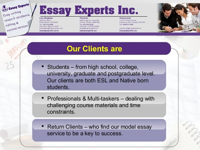 toronto essays Essay experts has been proudly providing premium academic writing assistance to students in the greater toronto area for more than a decade.