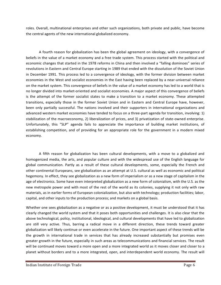 Globalization and the relevant role of the state essay