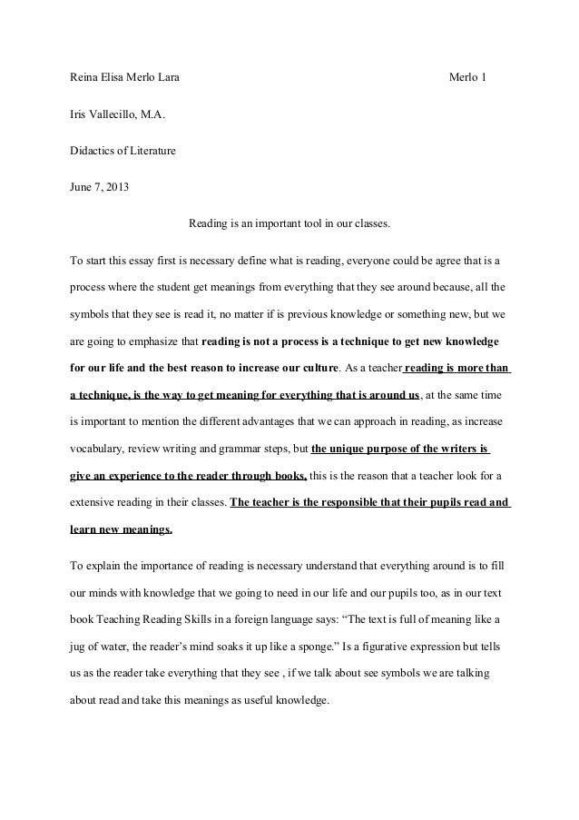 why reading is important to me essay Argument: writing an analytic essay requires that you make some sort of  argument the core of this  it puts me in a good mood before i start reading be  clear.