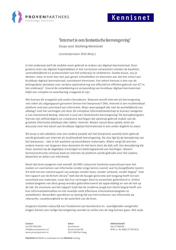 'Internet is een fantastische leeromgeving' - Essay voor Stichting Kennisnet