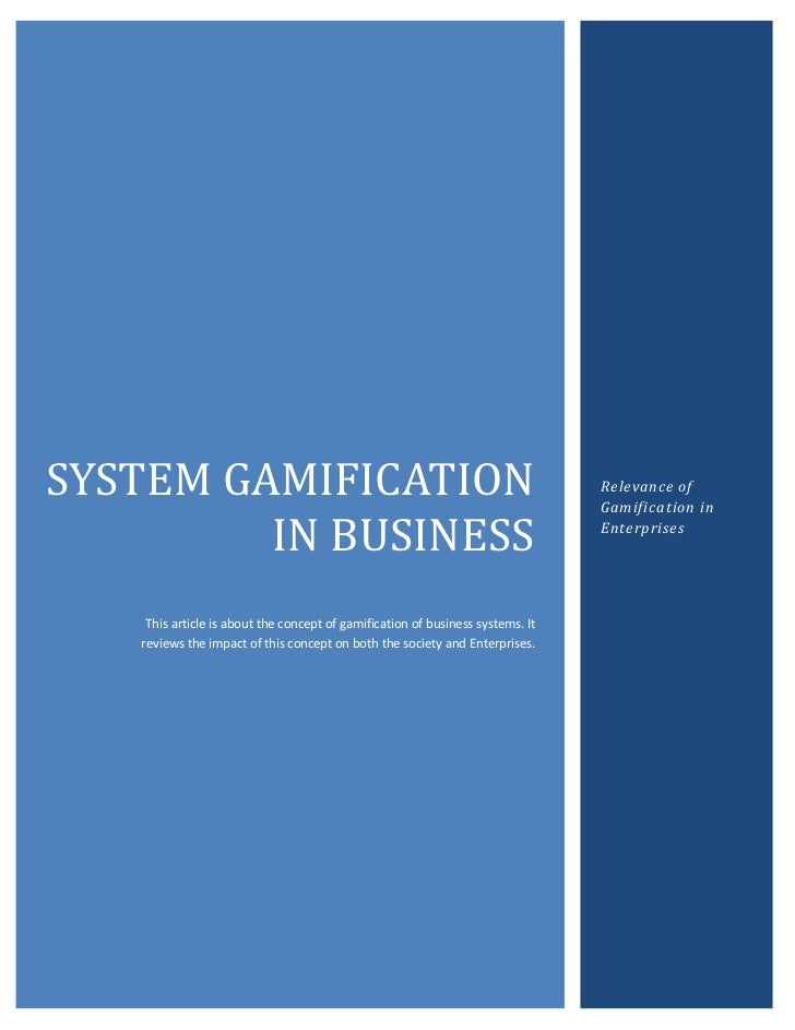 BSYSTEM GAMIFICATION                                                              Relevance of                            ...