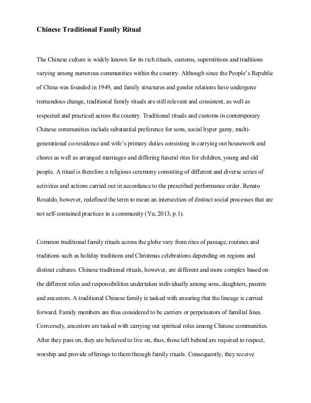 Custom and tradition essay