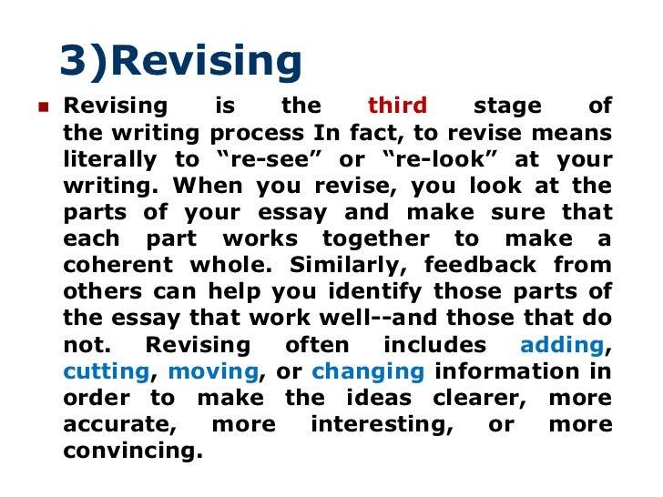 essay writing process Whether you know it or not, there's a process to writing – which many writers follow naturally if you're just getting started as a writer, though, or if you always find it a struggle to produce an essay, short story or blog, following the writing process will help i'm going to explain what each stage of the writing process involves.