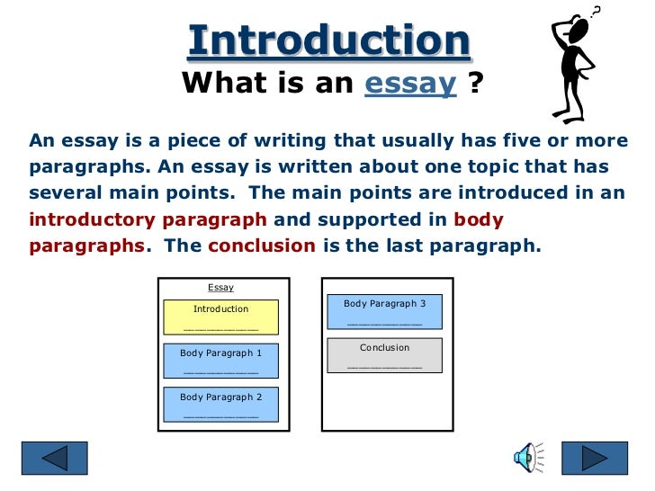 how many parts of essay I'm think that essay must have more than four paragraphs: the first paragraph should introduce your audience (generally your teacher or classmates) to your c.