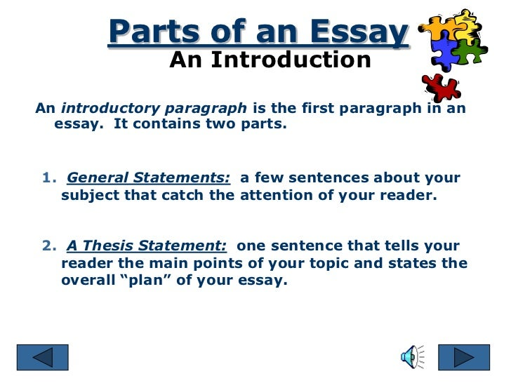 introduction part of essay The introduction to an essay has three primary objectives: explain the context of the essay, give the response to the question or the overall focus of the essay (the.