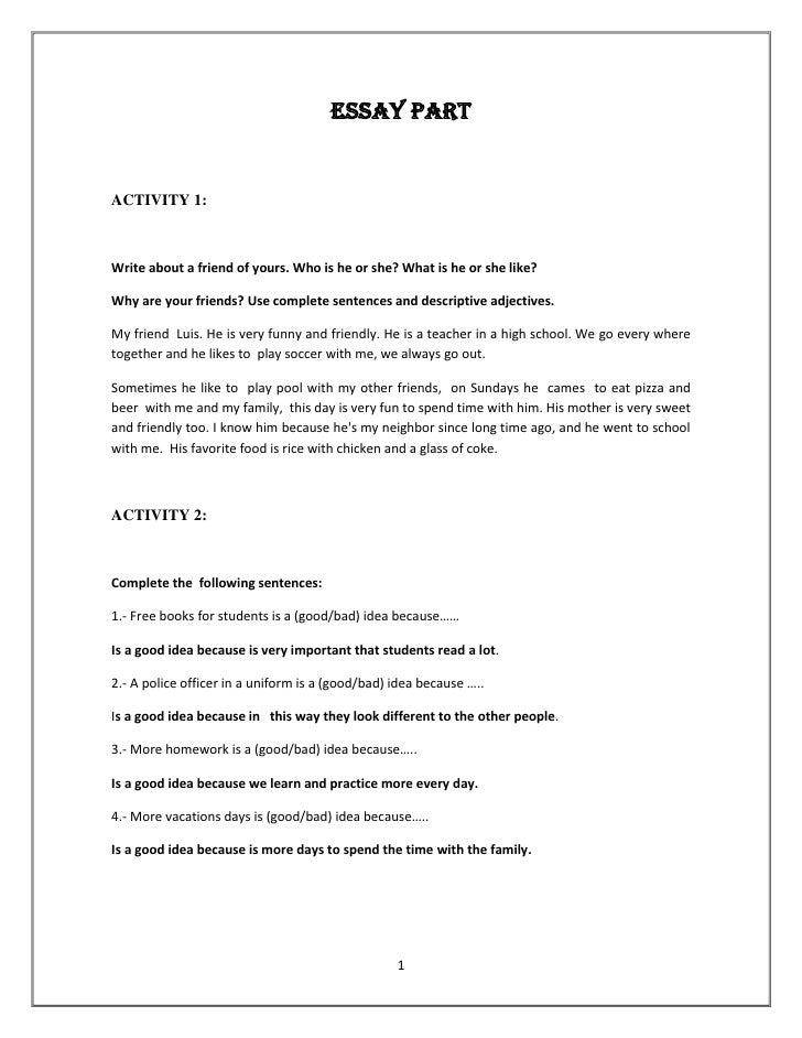 Essay part reading and writing 1