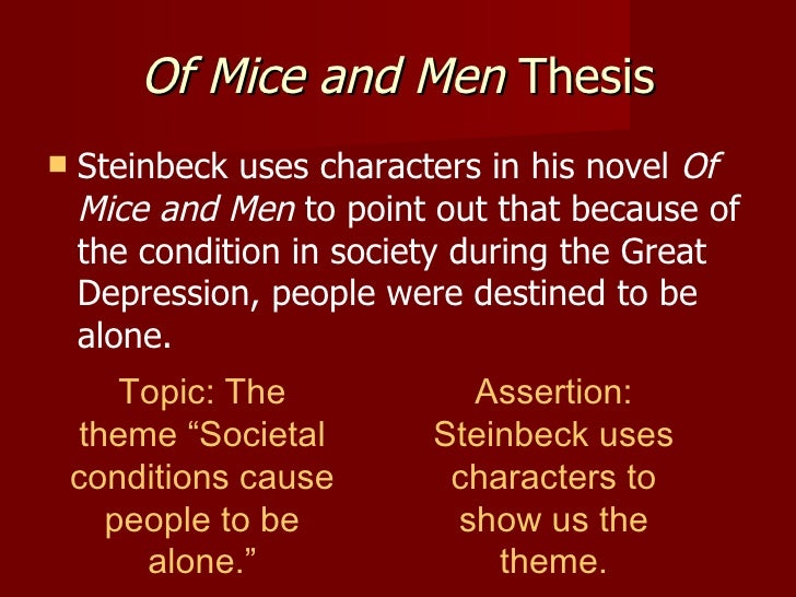 essays on themes in of mice and men We will write a custom essay sample on mice and men explore the themes of loneliness in 'of mice and men  we have essays on the following topics that may be.