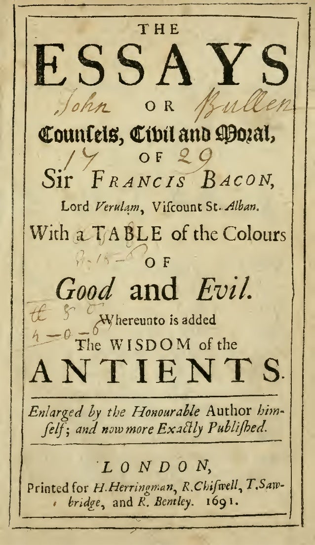 essays francis bacon Francis bacon 1561 - 1626 the complete essays the first complete html-ized version of all of his essays featured essay: of goodness & goodness of nature.