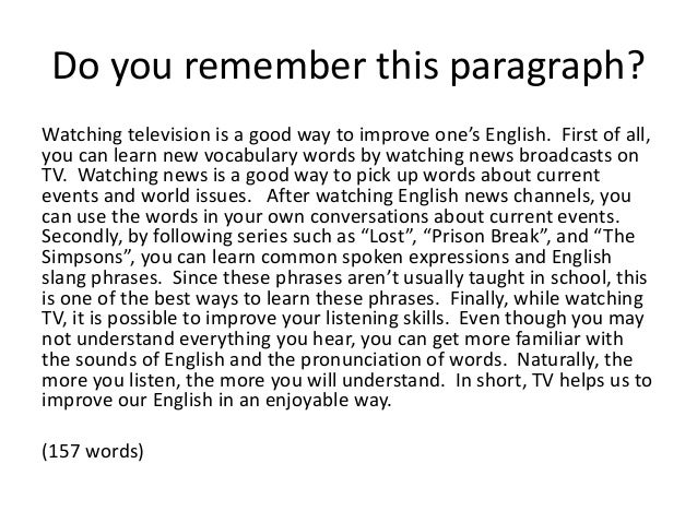 Paragraphs in english essay