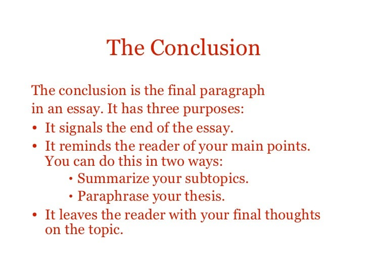 good essay conclusion structure A guide to writing scientific essays these are general points that any good scientific essay should follow 1 structure: essays should make an argument: your essay should have a point and.