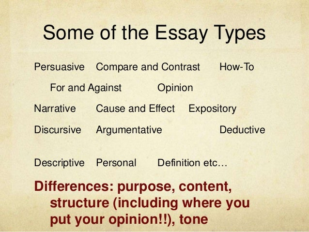 what are three main types of essays