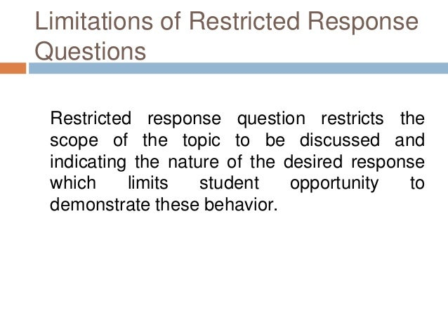 restricted response essay question
