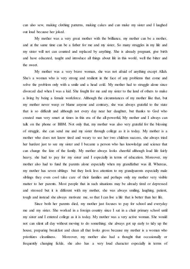 Descriptive essay my mother