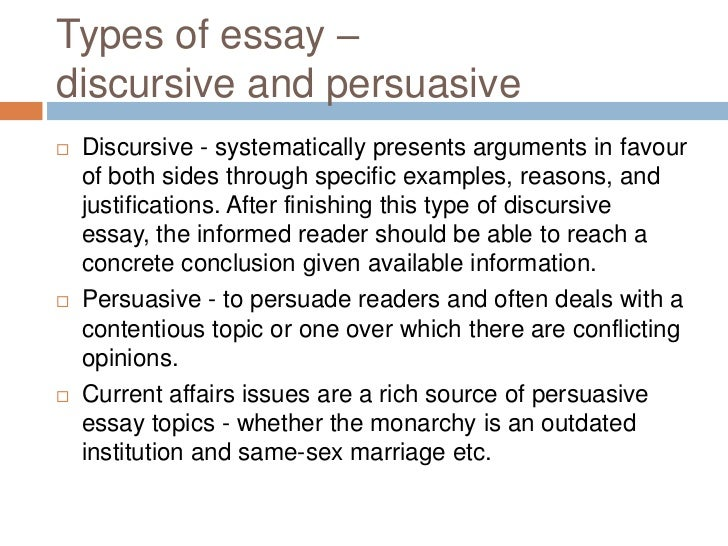 discursive essay topics 2013 Blog writing tips 135 interesting argumentative/persuasive essay topics june 11, 2013 in 2:51 pm hello joy  can you help with a higher essay discursive topic.