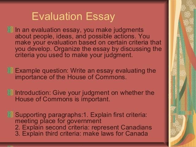 evaluative essay topics