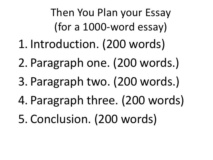 then you plan your essay for a 1000 word essay