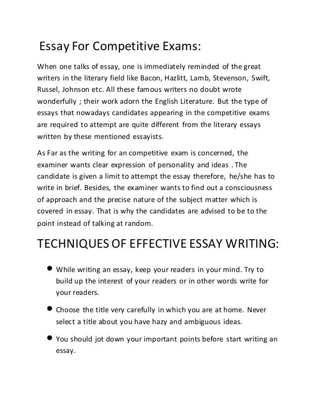 english essays for competitive exams List of 10 essays for competitive exams on 1 the political and economic implications of the indo-iran gas pipeline 2 the role played by the united states in.