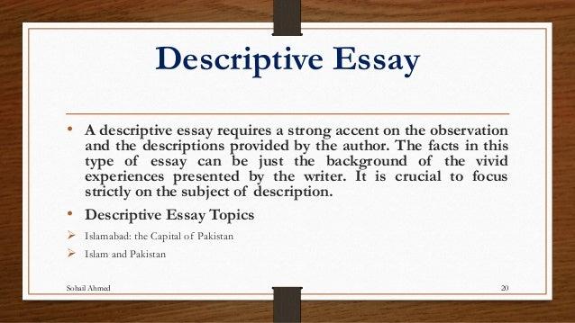 Descriptive essays topics