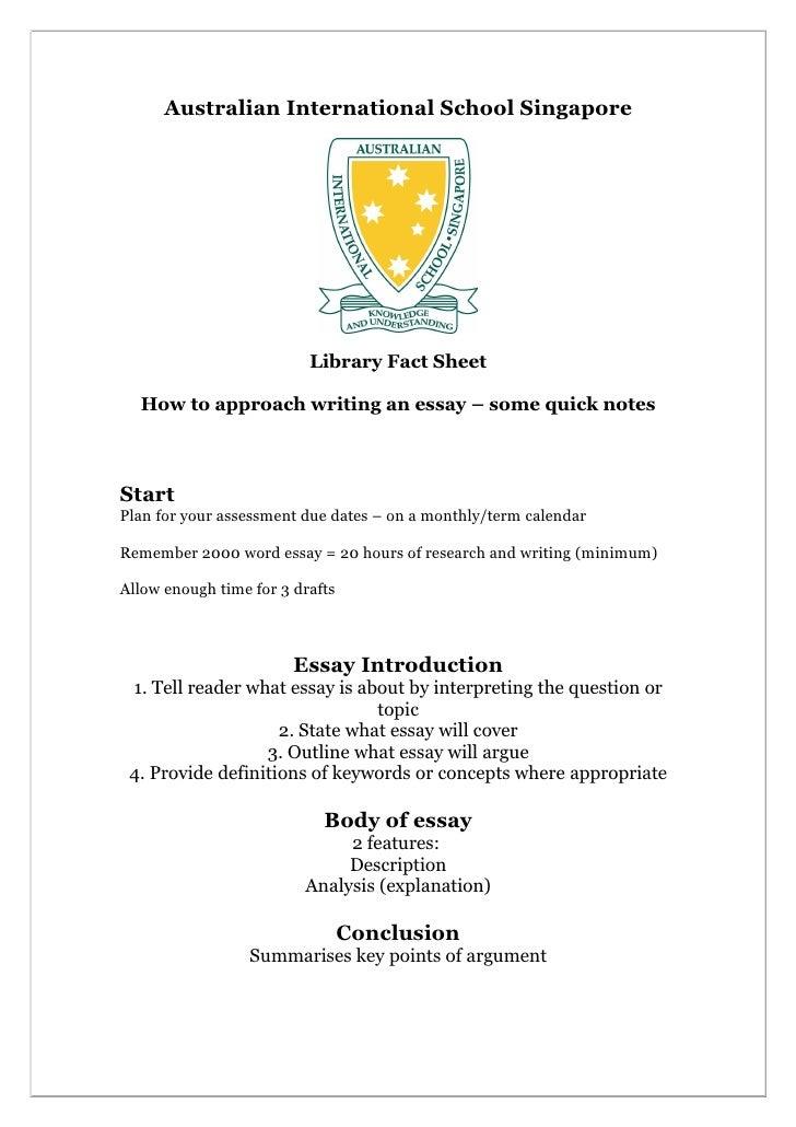 Australian International School Singapore                          Library Fact Sheet  How to approach writing an essay – ...