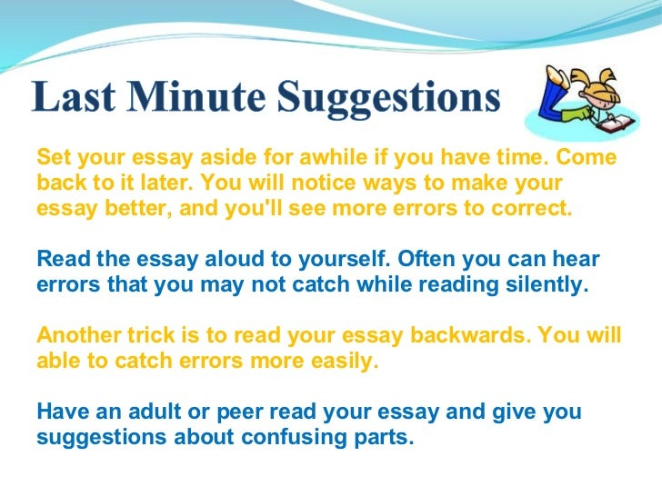 If you have to write an essay, ....