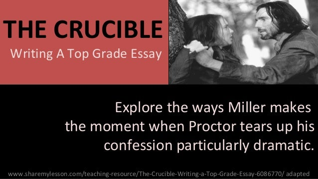 the crucible essays on themes Major theme of the crucible essays according to the webster's dictionary, a crucible is a vessel in which metal is heated to a high temperature and melted for the.