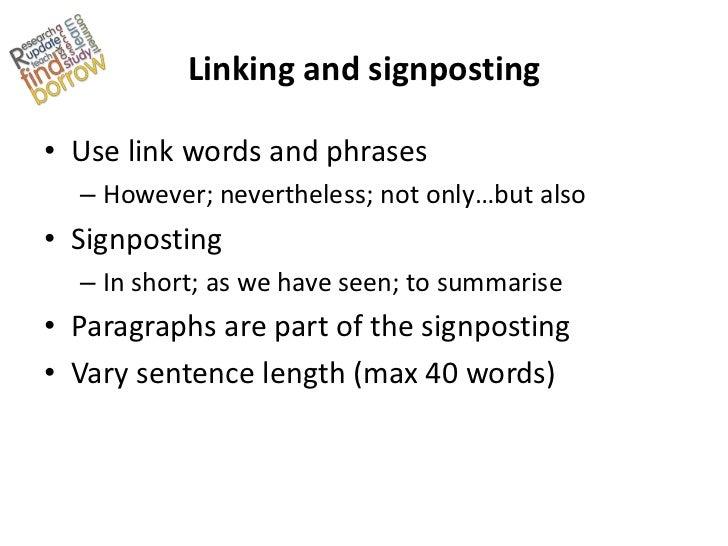 Essay writing signposts