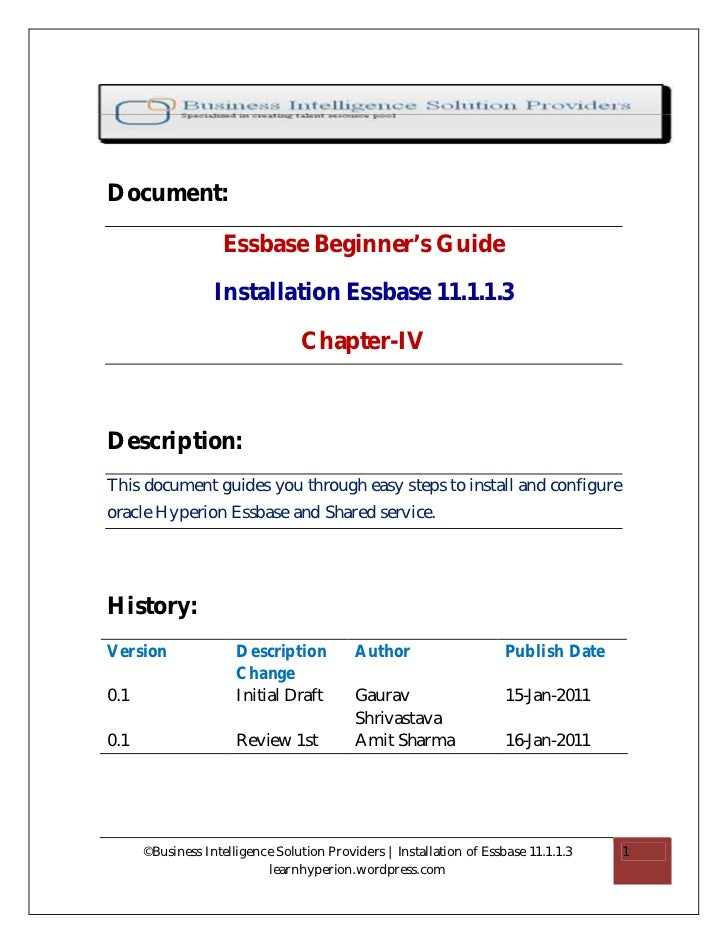 Document:                    Essbase Beginner's Guide                  Installation Essbase 11.1.1.3                      ...