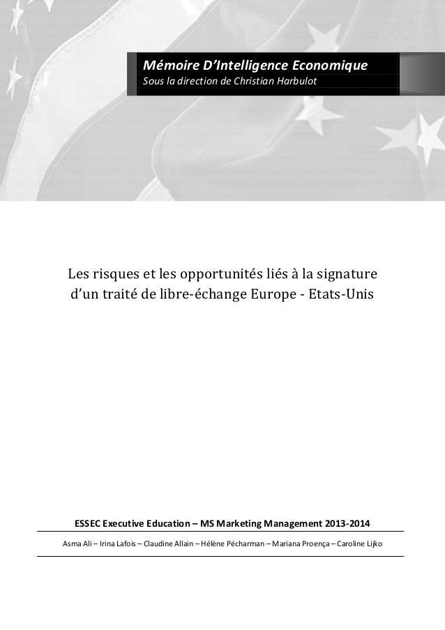 Les risques et les opportunités liés à la signature d'un traité de libre-échange Europe - Etats-Unis ESSEC Executive Educa...
