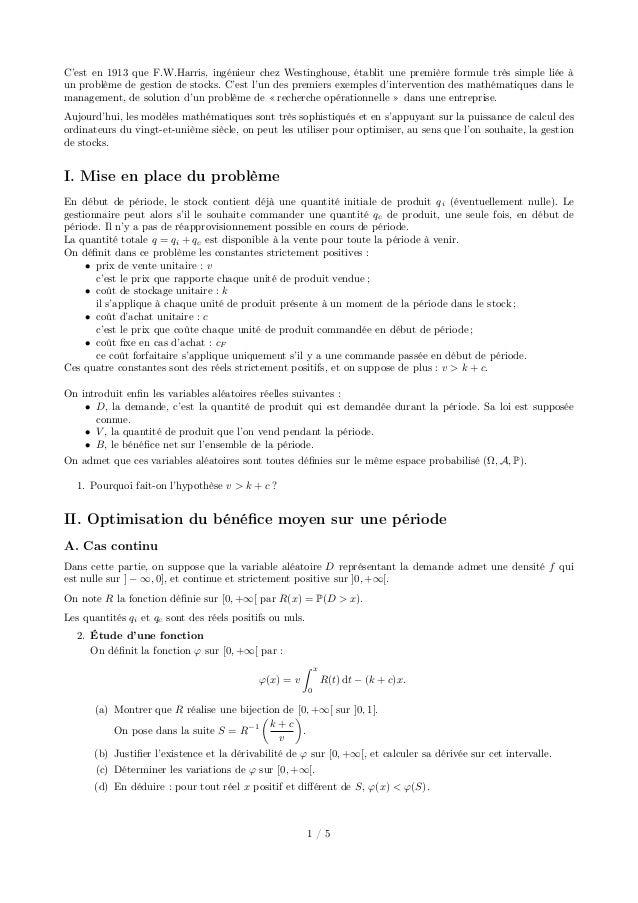 C'est en 1913 que F.W.Harris, ingénieur chez Westinghouse, établit une première formule très simple liée à un problème de ...