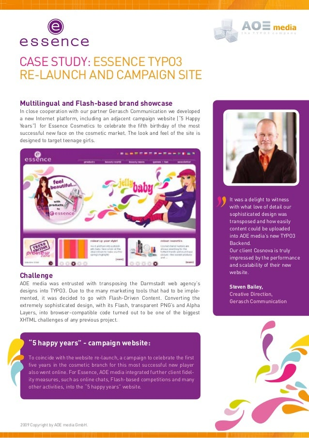Case study: ESSENCE TYPO3Re-launch and campaign siteMultilingual and Flash-based brand showcaseIn close cooperation with o...