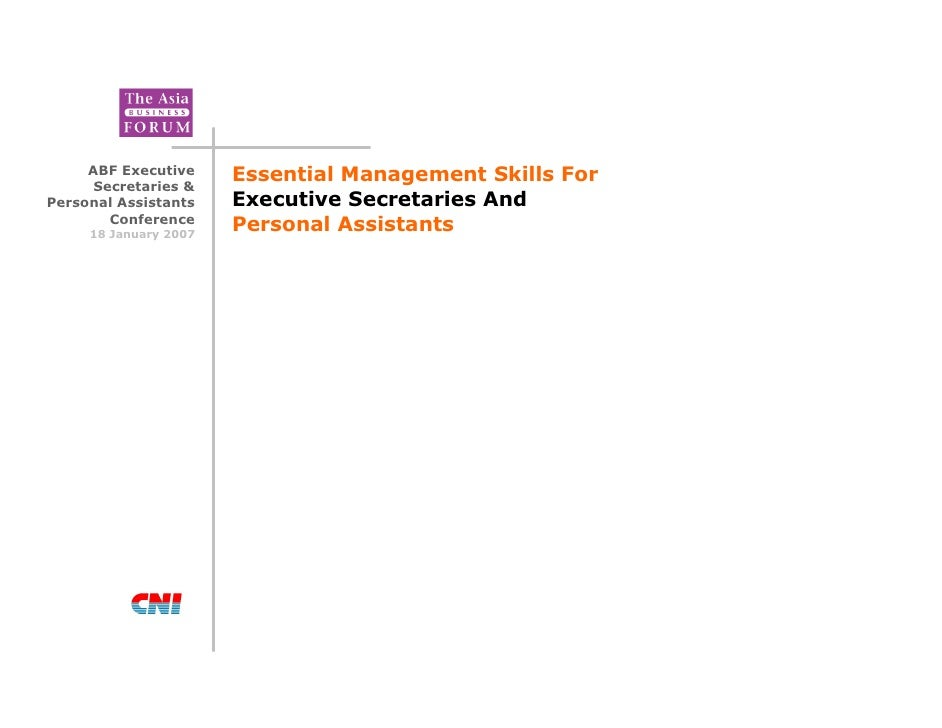 Essential Management Skills for Executive Secretaries and Personal Assistants