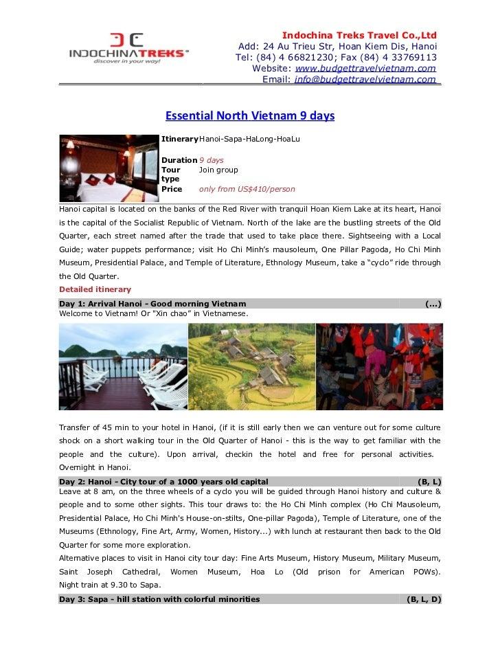Indochina Treks Travel Co.,Ltd                                                 Add: 24 Au Trieu Str, Hoan Kiem Dis, Hanoi ...