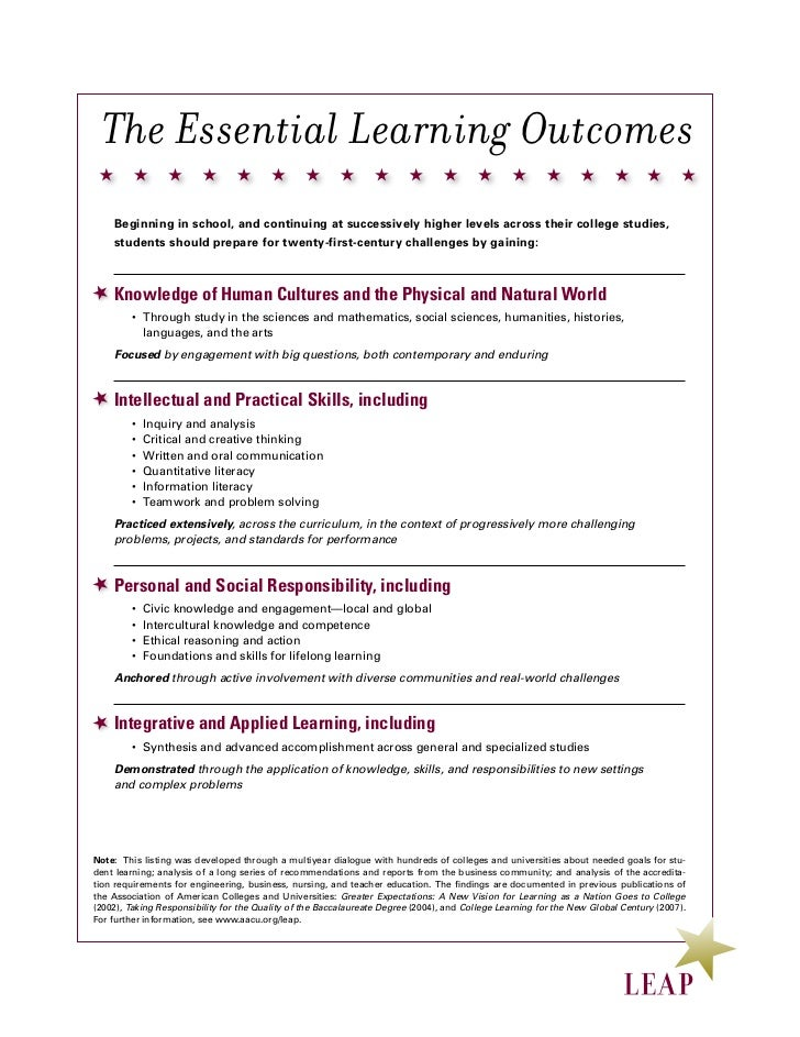 The Essential Learning Outcomes    Beginning in school, and continuing at successively higher levels across their college ...