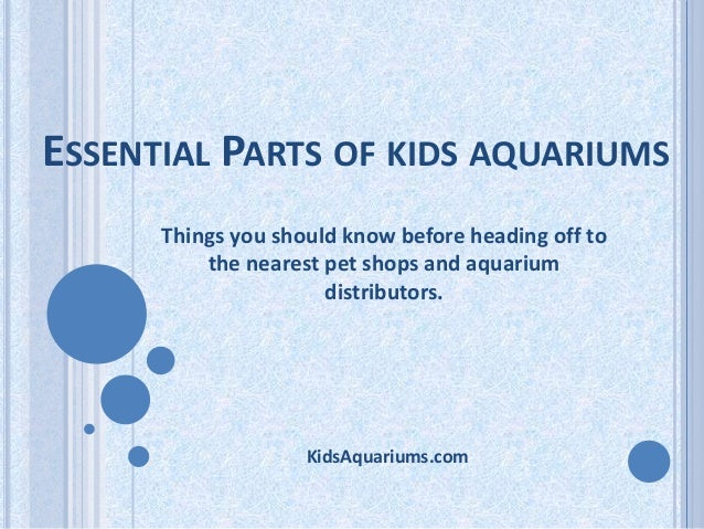 ESSENTIAL PARTS OF KIDS AQUARIUMS Things you should know before heading off to the nearest pet shops and aquarium distribu...