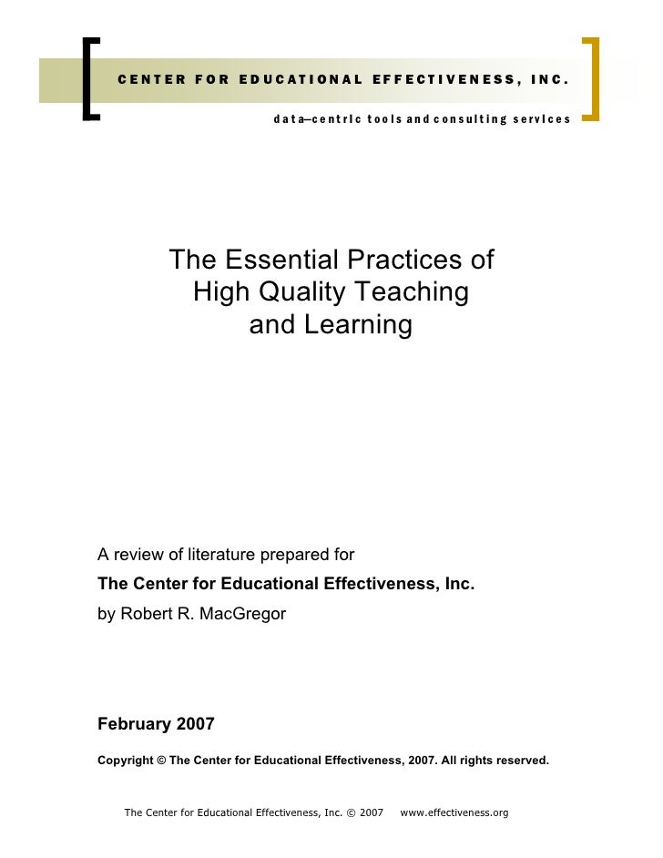 Essential Practices Of High Quality Teaching And Learning  Final