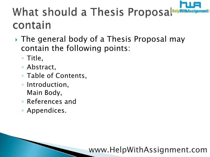 thesis proposal writing